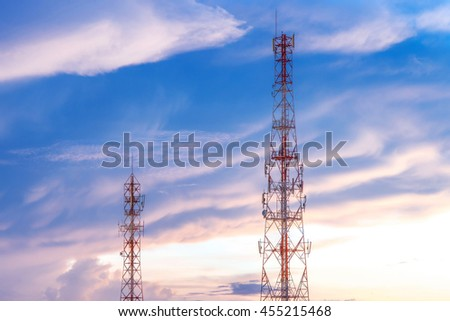 Communication Tower with Parabolic and GSM Antennas, Located in The Thailand - stock photo
