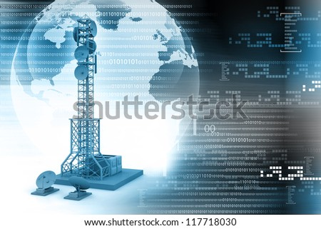 Communication tower with satellite dishes and aerials - stock photo