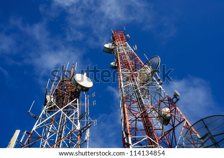 communication towers - stock photo