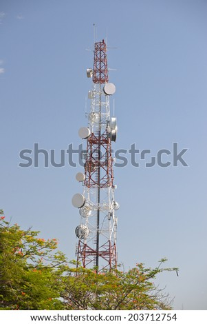 communication towers on sky background