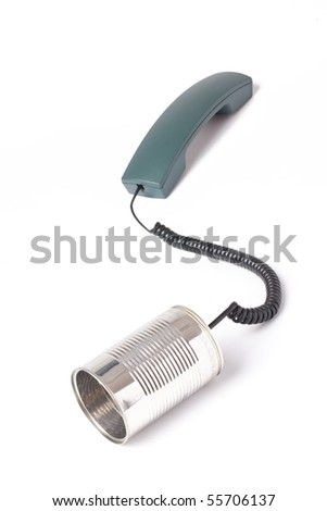 communication with tin can - stock photo