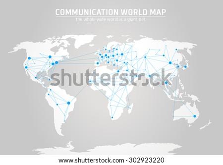 Communication world map  - stock photo