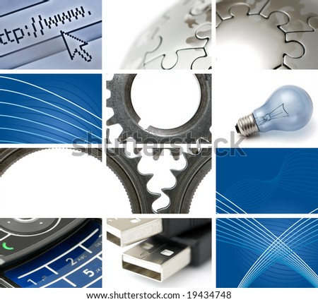communications and technology composition with many images - stock photo