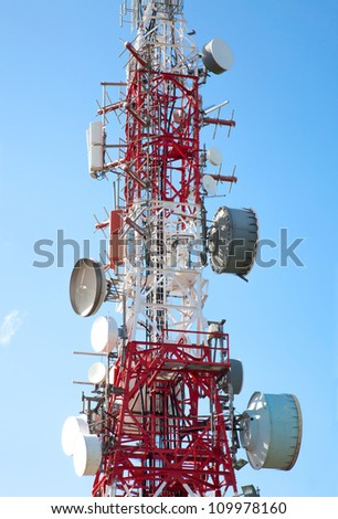 Communications antenna for radio, television and telephony