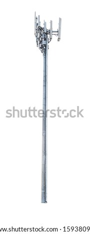 Communications Cell phone Tower isolated on white background - stock photo