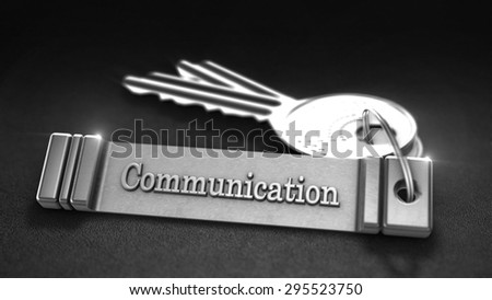 Communications Concept. Keys with Keyring. 3D rendering - stock photo