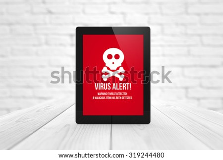 communications concept: render of a tablet with news website on the screen. All screen graphics are made up. - stock photo