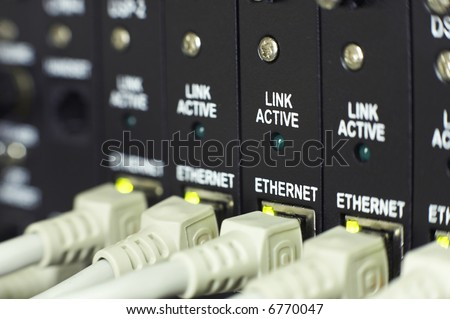 communications system closeup with shallow depth of field - stock photo