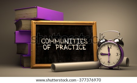 Communities of Practice Concept Hand Drawn on Chalkboard. Blurred Background. Toned Image. 3D Render. - stock photo