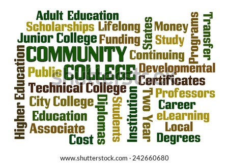 Community College word cloud on white background - stock photo