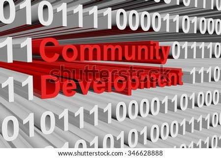 Community development is presented in the form of binary code