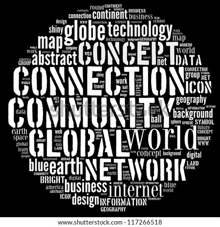Community Global words clouds isolated in black background