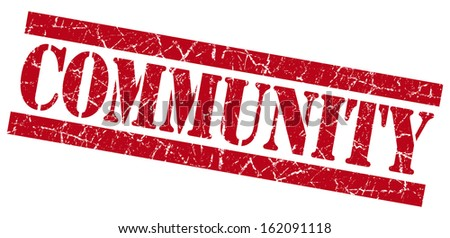 Community grunge red stamp - stock photo