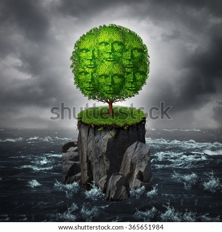 Community isolation concept as a a group of people shaped as a tree growing on an isolated rock cliff island surrounded by ocean as a metaphor for abandoned and forgotten society. - stock photo