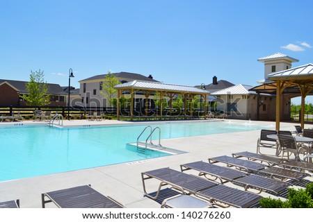 Community Pool in a Brand New Suburban Neighborhood - stock photo