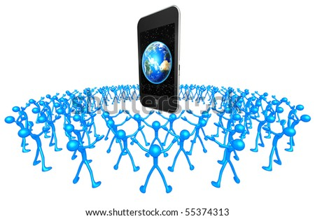 Community Touch Screen Mobile Device - stock photo