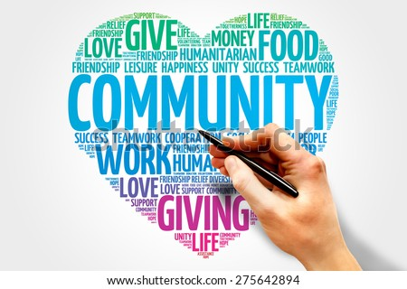 Community word cloud, heart concept - stock photo