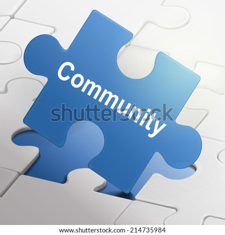 community word on blue puzzle pieces background - stock photo