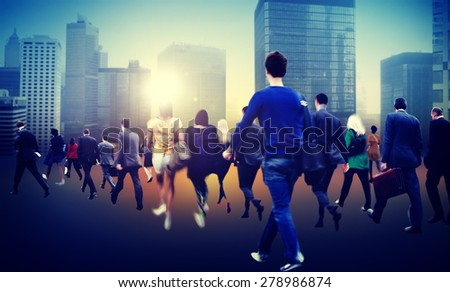 Commuter Business District Walking Crowd Cityscape Concept - stock photo