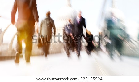 Commuter Business People Commuter Crowd Walking Cathedral Concept - stock photo