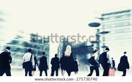 Commuter Business People Corporate Cityscape Walking Travel Concept - stock photo