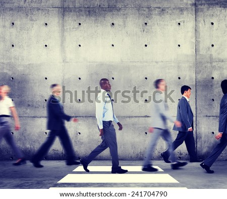 Commuter Business People Walking Office Building Organization Concept - stock photo