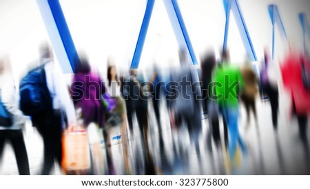 Commuter People Rush Hour Terminal Travel Concept - stock photo
