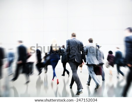 Commuter Rush Hour Travel Waking Business Concept - stock photo