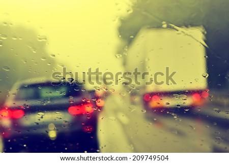 Commuter Traffic - Traffic Jam on an Expressway (Motorway) - stock photo