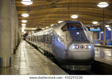 commuter train at metro station platform in Oslo Norway - stock photo