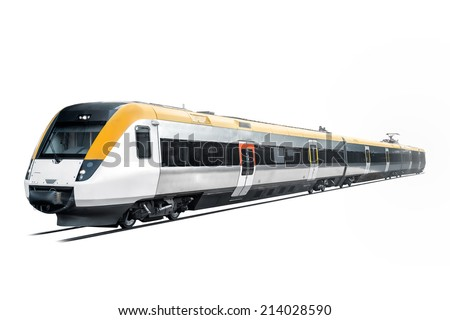 Commuter train is coming out from the white background. - stock photo