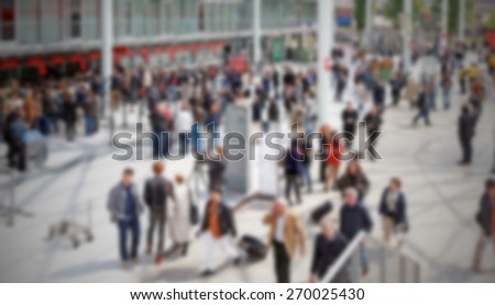 Commuters background, panoramic view. Intentionally blurred editing post production.