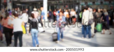 Commuters, intentionally blurred post production background