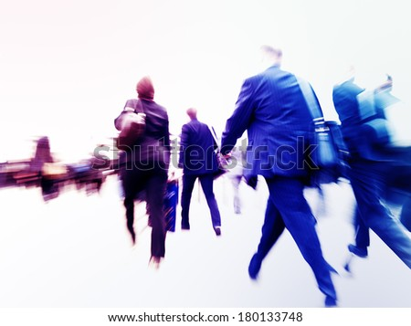 Commuters on Their Way to Work in London - stock photo