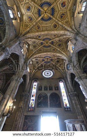 COMO, ITALY - JUNE 27, 2016: Como (Lombardy, Italy): interior of the medieval cathedral, built from 1396 to 1770