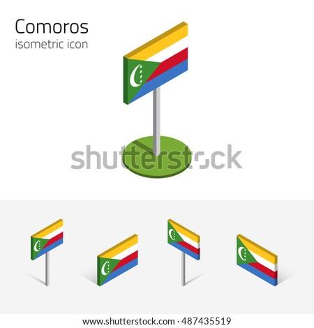 Comorian Flag Union Comoros Set Isometric Stock Illustration