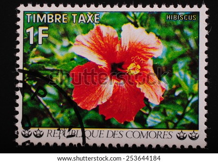 Comoros-circa 1977: Postage stamp printed in the Comoros shows an image of an exotic flower hibiscus - stock photo