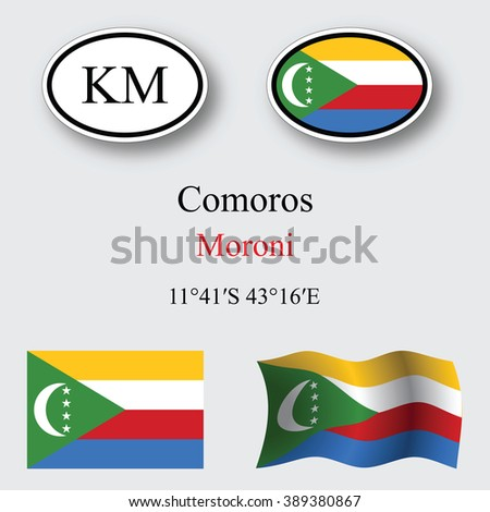 comoros icons set against gray background, abstract art illustration, image contains transparency