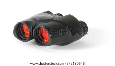 Compact binoculars with red lenses - w/ clipping path - stock photo