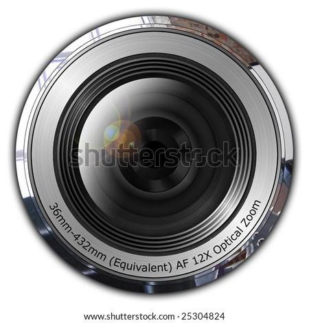 Compact camera zoom lens - stock photo