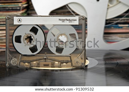 compact cassette and other stuff from that times - stock photo