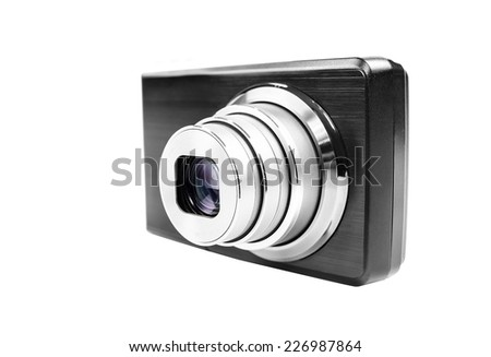 Compact digital camera isolated over white background - stock photo