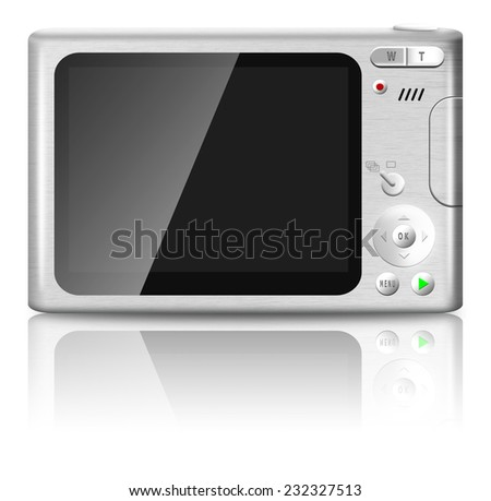 Compact digital camera with empty LCD screen isolated on white background