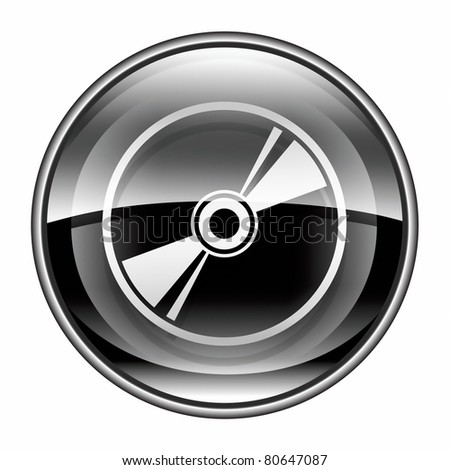 Compact Disc icon black, isolated on white background - stock photo