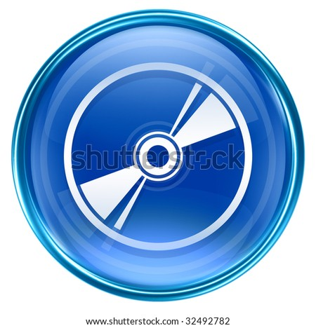 Compact Disc icon blue, isolated on white background - stock photo