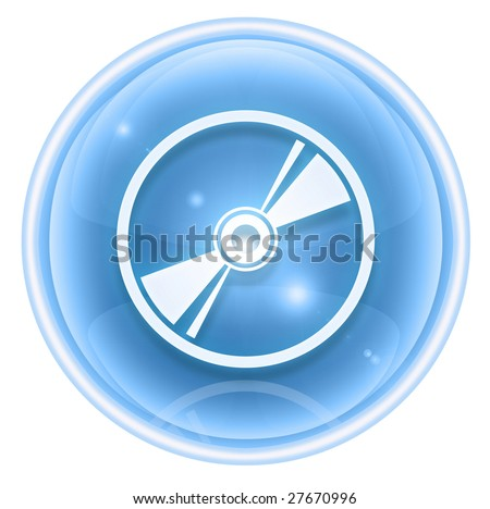 Compact Disc icon ice, isolated on white background - stock photo