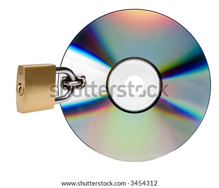 compact disc locked on white background close up - stock photo