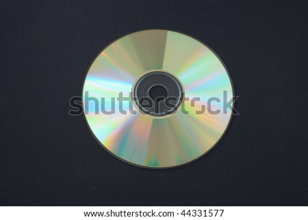 Compact disc on a dark background. Close-up.