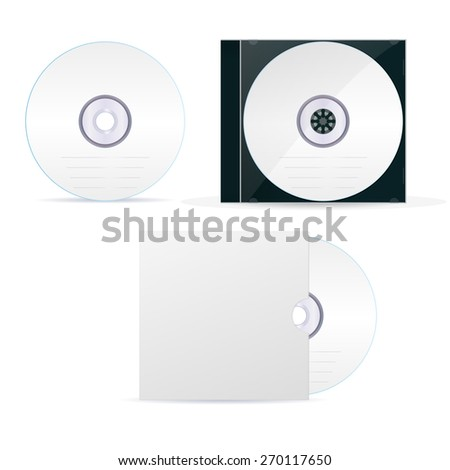 Compact disc set: cd, box, cover-  isolated on white background. Raster version