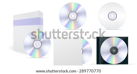 Compact disc set: CD, box, cover. isolated on white background. Raster version - stock photo